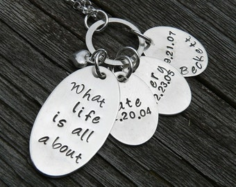 Love You Forever - Custom Sterling Silver Hand Stamped Mothers Necklace - Your Names, Font Choice, Number of Discs 1-6 Children