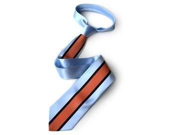 Racing Livery necktie: LeMans Mirage powder blue & marigold racing stripes tie. Auto enthusiast men's tie. Add a pocket square too!