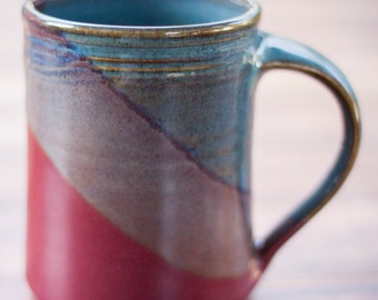 Handmade Ceramic Coffee Mug -- Rasberry  Red / Twilight blue  hand thrown clay pottery mug -- Ceramic mug pottery coffee mug