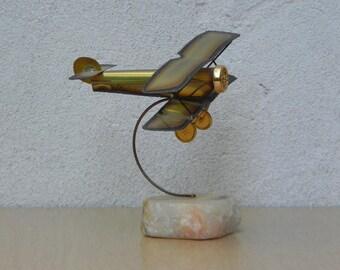 Demot Antique Airplane Sculpture on Marble Base