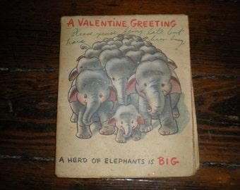 Vintage 1950 Valentines Day Card Hallmark Rufftex Animals  Scrapbooking Crafting
