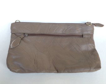 Vintage Tan Leather Clutch Beige Clutch Petite Handbag San Diego California
