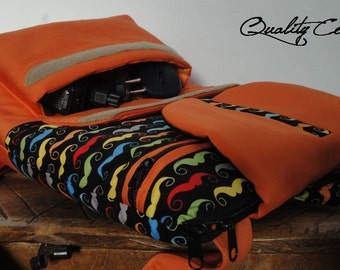 Customizable for Color Fabrics and Size Backpack laptop - FULLY padded - WATERPROOF lining - COMPARTMENT laptop - interior Pockets