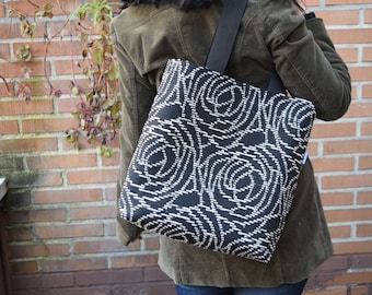 Canvas tote,canvas tote bag,roses tote,black tote,canvas purse bag,shopping bag,spiral tote bag,black totes,womens tote bag,fabric purse
