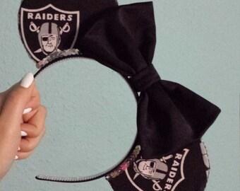 Raiders Mouse Ears (Black/Black Glitter Bow)