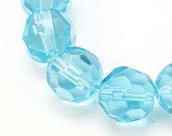 100 round faceted glass beads, 10 mm in 6 different colours