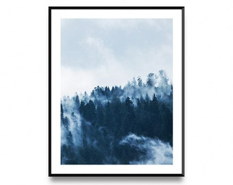 Foggy Forest Print, Forest Prints, Forest Wall Print, Forest Wall Prints, Wall Art Poster Print With Instant Printable Digital Download