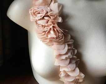 PEACH Flower Applique Beaded Trim  for Bridal, Sashes, Headbands, Garments CA 841pch