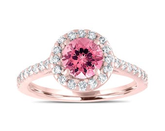Rose Gold Engagement Ring, Pink Tourmaline Bridal Ring, With Diamonds Wedding Ring, Halo Ring, 1.54 Carat Certified Pave Unique Handmade