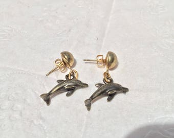 Pewter dolphin earrings