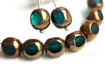Lustered Dark teal beads, Czech Glass beads, round cut, large faceted beads, 10mm - 10Pc - 2841
