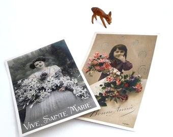 Vintage French Postcards Hand Tinted, Set of 2 Early 1900s, Antique RPPC Tinted Photo, Vintage Postcards, Old Cards, Retro Greeting Cards