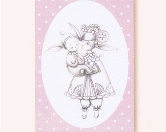 Mother and child greeting card, sweet whimsical art, pastel pink,eco-friendly