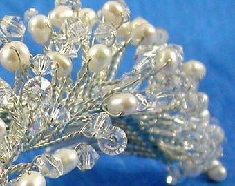 French Twist or Bridal Side Fascinator Comb with wired sprigs of Freshwater Pearls and Swarovski Cryst