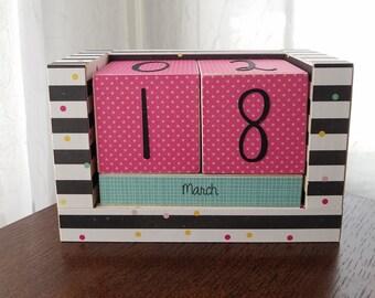 Perpetual Wooden Block Calendar - Black and White Stripes and Tutti Frutti Confetti Party Polka Dots