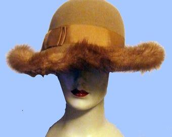 Women's 70's Felt Hat w/Mink Trim Sz M