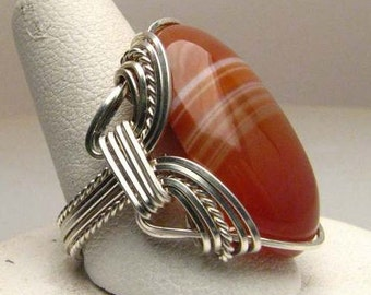 Handmade Wire Wrapped Red White Sardonyx Sterling Silver Ring. Custom Personalized Sizing to fit you.