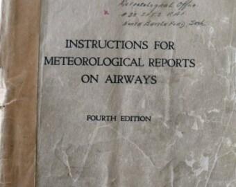 vintage ephemera  ... 1940 Instructions for METEOROLOGICAL REPORTS on AIRWAYS handbook  ...