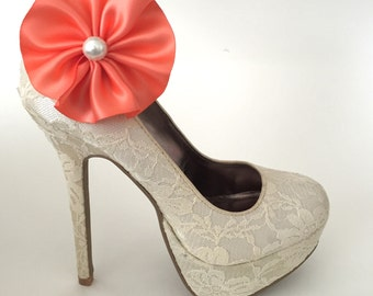Coral Flower Pearl Shoe Clips - 1 Pair