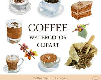 Coffee Watercolor Clipart (Latte, Cappuccino, Espresso, Black Coffee, Coffee Beans, Coffee Trees, Coffee Cake and More!)