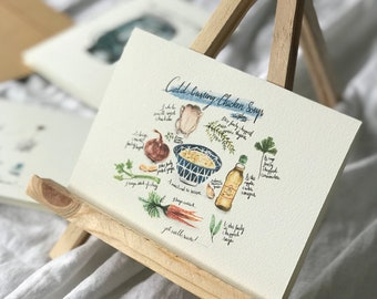 Cold Busting Chicken Soup  | Get Well Soon | Greeting Card | Water Colour Print | Card | Print | Handmade | Hand Crafted