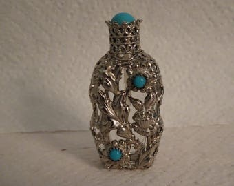Vintage Glass & Silver Perfume Bottle wtih Turquoise Colored Accents