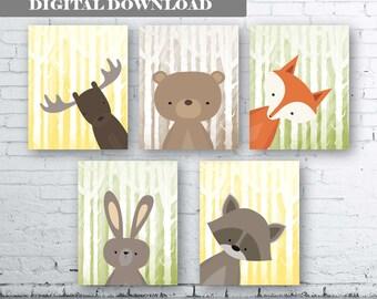 WOODLAND Animals Wall Art Print-Set of Six (5) - Digital Download. Woodland Creatures Wall Art Printable. Forest. Woodland Nursery Art.Wonky