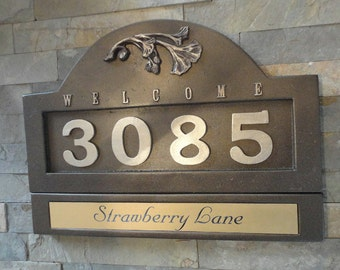 Craftsman HOUSE NUMBERS Ginkgo Address Plaque Large Oil Rubbed Bronze