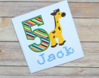 Giraffe birthday shirt, zoo animal birthday shirt, boy birthday shirt, toddler birthday outfit, party hat shirt, first birthday, second