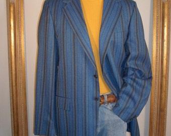 Vintage 1960's Blue Striped Wool Jacket - Size 44