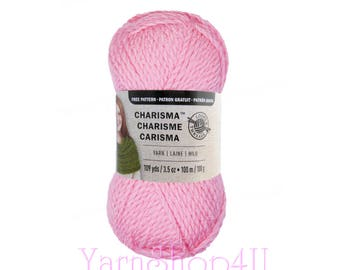 THINK PINK. Charisma Loops and Threads Yarn. This Bulky Solid Pink acrylic Yarn is a nice medium pink shade yet still bright and cheery.