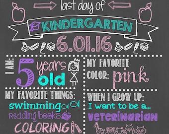 Last Day of Kindergarten Chalkboard / Last Day of School Chalkboard Sign / Last Day of School Sign / Last Day Chalkboard Sign / Digital File