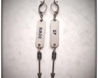 Up & Down Vintage Locker Tag and Arrow Earrings