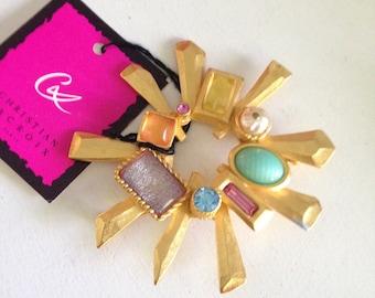 Christian Lacroix Vintage jeweled radiant sun burst brooch