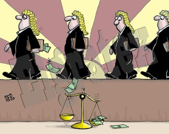 "Color Hand-Drawn Downloadable Cartoon, Funny Digital Comic, Cartoons, humor art gift - ""Justice bribery"""