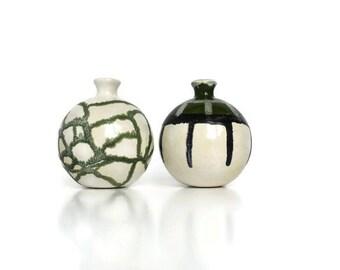 Green White Vases, Bud Vase Set, Small Flower Vase, Ceramic Vase, Birthday Gift, Original Vase, Small Home Decor, Modern Vase, Pottery Gift