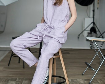NEW Sleeveless linen jumpsuit in lavender color. Linen jumpsuit, loose fit, linen romper,  linen overall, lilac jumpsuit, light lilac