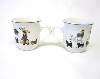 Coffee Cup Mug Farm Scene Oneida Set Of Two