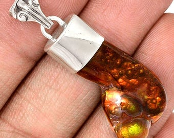 "Mexican Fire Agate in Solid Sterling Silver. 1 5/8"" Long Penant. 9684"