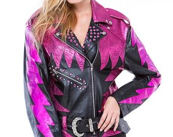 Glam Rock Shocking Pink Leather Biker