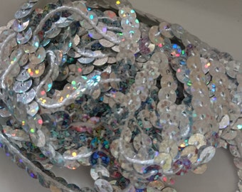 2 m 80 Ribbon SEQUINS silver iridescent holographic 6mm wide