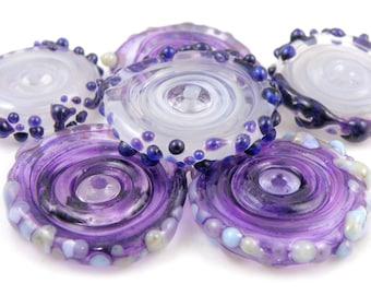 Byzantium Discs SRA Lampwork Handmade Artisan Glass Disc Beads Made to Order Set of 6 5x22mm