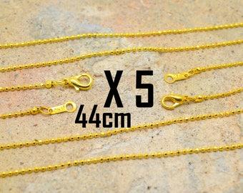 5 x Choker 44cm goldtone mesh chain ball 1 mm