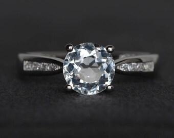 natural white topaz ring round cut gemstone ring sterling silver November birthstone