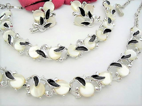 Mother of Pearl Jewelry Set, Black Enamel, Silver Necklace Bracelet Earrings