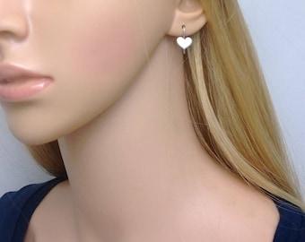 Sterling silver heart earrings; small silver heart earrings; heart drop earrings; small sterling silver heart earrings; heart earings