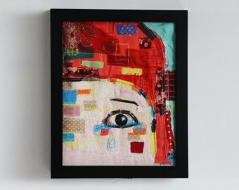 Crying Girl Original Mixed Media embroidery Illustration