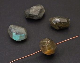 4 pcs faceted labradorite nugget beads, grey green chunky side drilled semiprecious stone average size 18mm