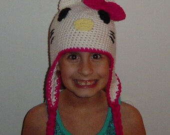Girls Toddler Kitty Earflap Hat with Braids