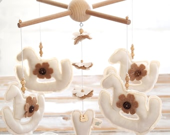 Rocking Horse Neutral Baby Mobile, Crib Mobile Boy, Gender Neutral Nursery Decor, Horse Baby Mobile Hanging // EXPEDITED FEDEX DELIVERY //